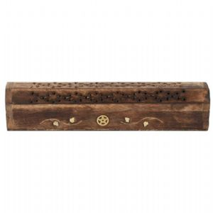 MANGO WOOD INCENSE HOLDER BOX- PENTAGRAM INLAY